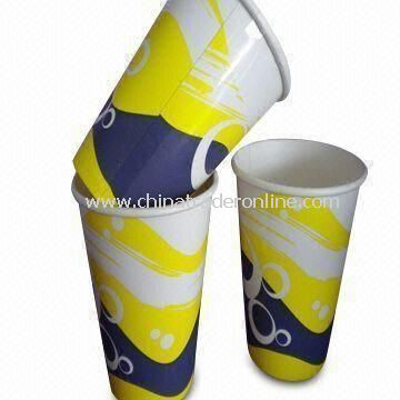 Disposable Paper Cups with Flexo Two-color Prints, Ideal for Hot and Cold Drink