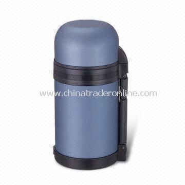 Double Wall Travel Bottle with Plastic Cup and 1,200mL Capacity, Made of 18/8 Stainless Steel