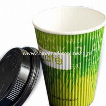 PE Coated Disposable Ripple Paper Cups with Lid, Fashionable Design