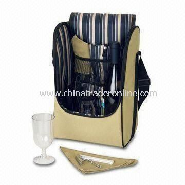 Picnic Cooler Bag, Made of 600D Polyester with Wine Set and Size of 22 x 17 x 35cm