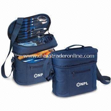 Picnic Cooler Bag with Adjustable Shoulder Straps, Made of 600D Polyester
