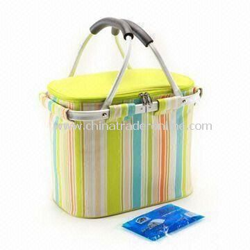 Picnic Cooler Basket, Attractive Stripe Design, Convenient for Outdoor Events