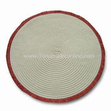 Placemat with Round Fringe and Paper Threads, Measuring Ø15-inch
