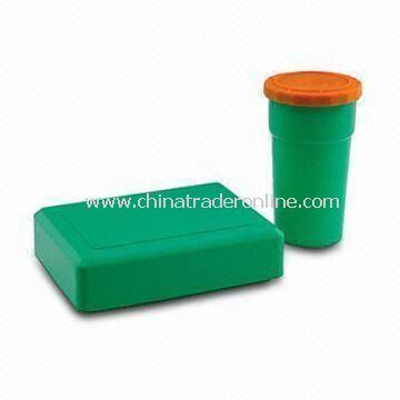 Plastic Canteen Set, Made of PP, Measures 7.2 x 13cm for Cup and 15.5 x 11.5 x 4.5cm for Canteen