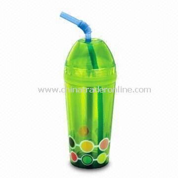 Plastic Cup with Hard Mold Straw, Customized Designs are Welcome