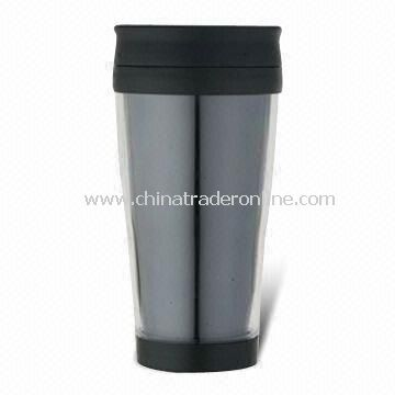 Plastic Mug with Transparent Color Outer, Suitable for Travel Use from China