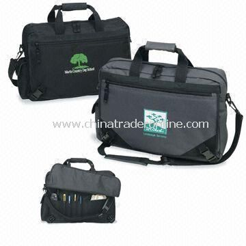 Promotional Polyester Gusseted Briefcase, Large Main Compartment with Zipper Closure