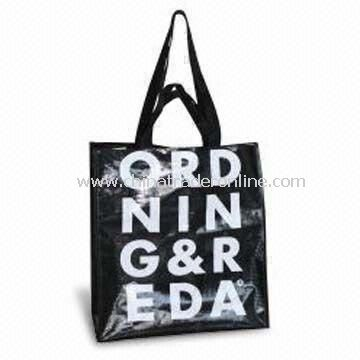Recycling Shopping Bag with Plastic Handle and Printed White Log, Customized Designs are Accepted
