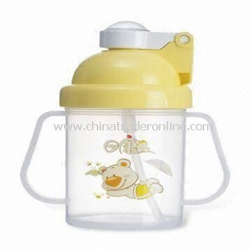 Straw Cup, Made of Plastic Cup with Hard Mold Straw and Customized Designs Welcomed from China