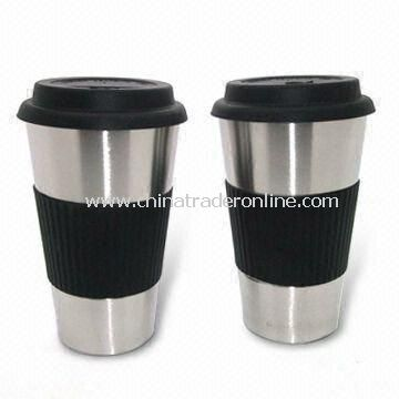 450mL Double Wall Stainless Steel Coffee Mugs with Silicone Sleeve