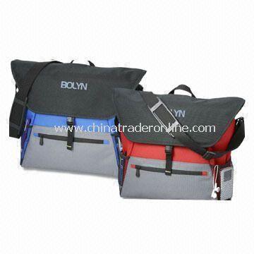 600-Denier Polycanvas Messenger Bag/Laptop Bag with Zippered Front Pocket