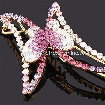 Butterfly-shaped Hair Clip, Made of Zinc Alloy with Rhinestones, Customized Specifications Accepted