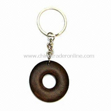 Fancy Keychain, Made of Alloy and Wood, Nickel-free, Customized Designs are Accepted