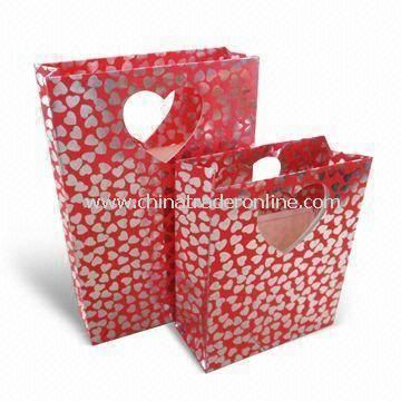 Fashionable Paper Gift Bags for Valentines Day or Promotional, Eco-friendly, 4-color CMYK Printing