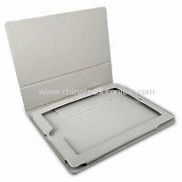 Folio Leather Case Pouch Cover with Nonslip Grid for iPad 2 (White)