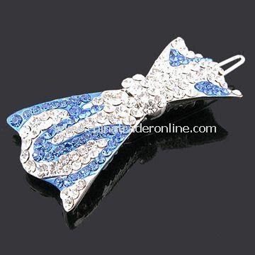 Hair Clip, Customized Designs and Specifications are Accepted, Made of Alloy and Rhinestone
