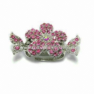 Hair Clip, Made of Alloy with Crystals, Available in Various Designs from China