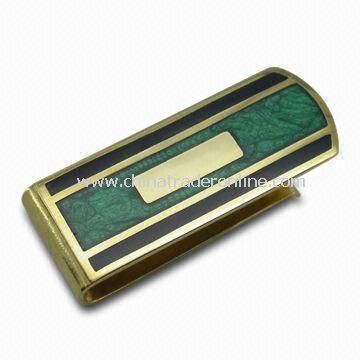 Money Clip, Made of Iron, Brass and Zinc Alloy, Various Logos Available and Epoxy Optional