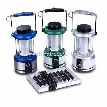 Solar Camping Lanterns, Made of ABS and 6V 2.5Ah Sealed Lead-acid Battery