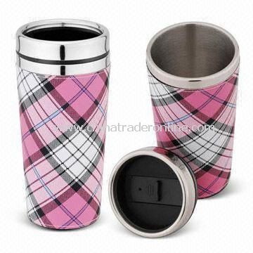 Stainless Steel Coffee Mug with Leather Wrap