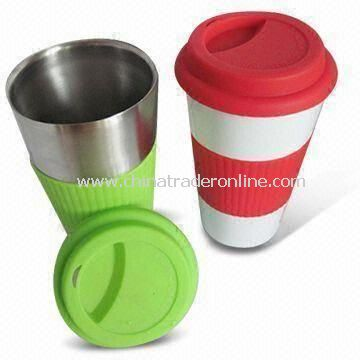 Stainless Steel Coffee Mug with Silicone Lid/Sleeve and 300mL Capacity