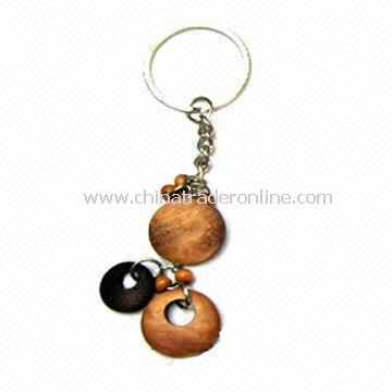 Wooden Keychain, Customized Designs and Sizes are Accepted, Nickel-free from China