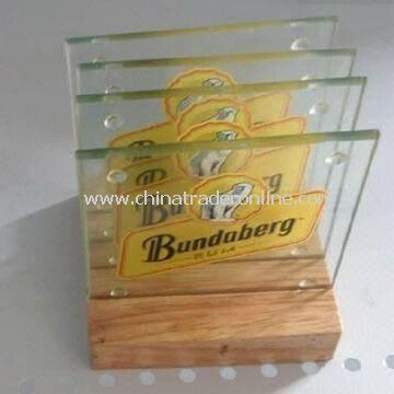 4-piece Glass Coasters with Wooden Holder, Suitable for Wine Promotional, Gifts and Wedding