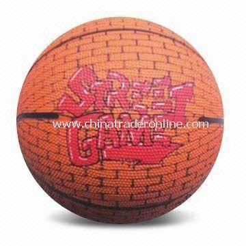 Basketball with Printed Design, Made of Rubber, Available in Mult-icolor