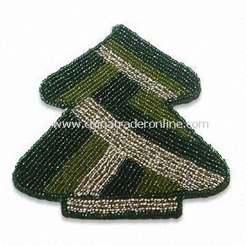 Glass Beaded Coaster in Christmas Tree Design, Measures 4.5 x 4.25-inch, Various Colors are Welcome
