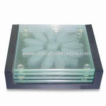 Glass Coaster Set, Customized Designs are Accepted, Measures 9 x 9 x 0.4cm
