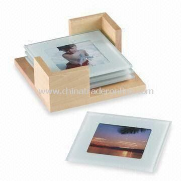 Glass Photo Frame Coasters with Wooden Stand, Suitable for Home and Office Decoration