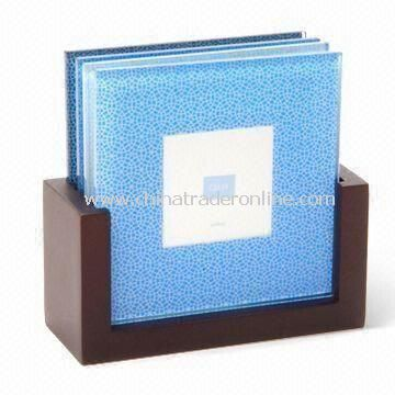 Photo Frame Coasters with Wooden Stand, Made of Glass, Suitable for Home and Office Decoration