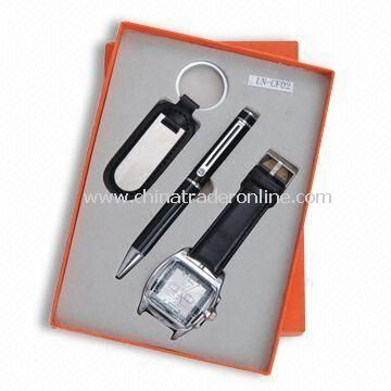3-piece Stationery Gift Set, Small Orders are Welcome, Includes Ball Pen, Watch and Keychain