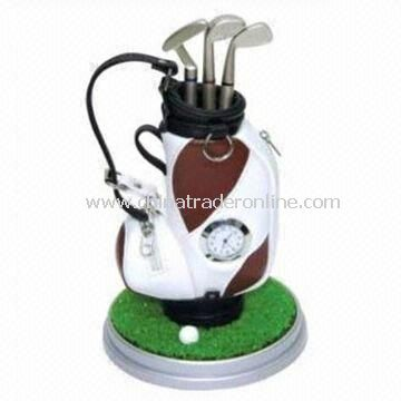 Golf Style Promotional Pens with Pen Holder and Electronic Watch