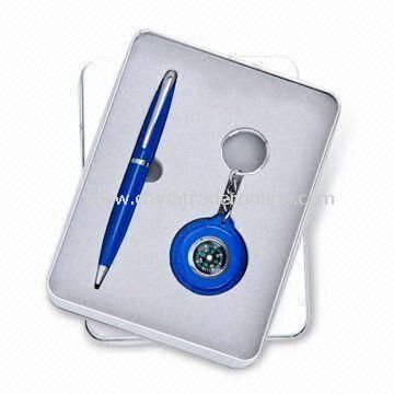 Stationery Set with Two-pieces for Promotional Purposes, Includes Ball Pen/Keychain Clock