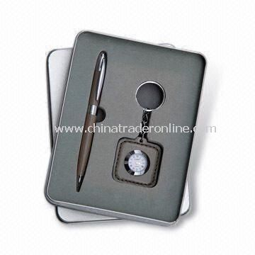 Two-piece Stationery Set, Suitable for Gift Purposes, Includes Ball Pen/Clock Inside Keychain
