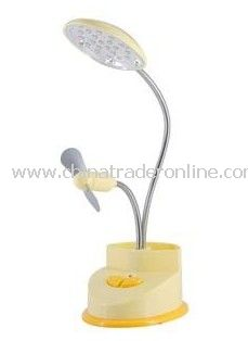 White Desk Lamp with Mini Fan and Pen Container