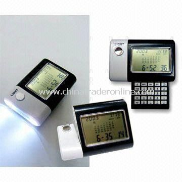 World Time Calendar with Torch and Calculator, Includes Alarm Clock and Night Light