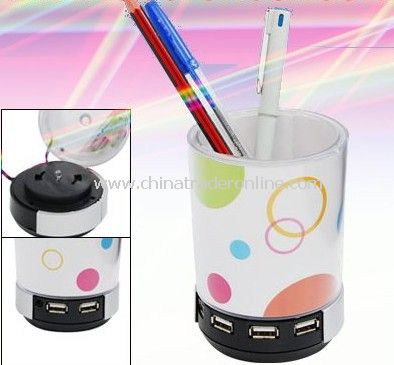 Stylish USB 2.0 Hub Speaker Pen Holder LED Light