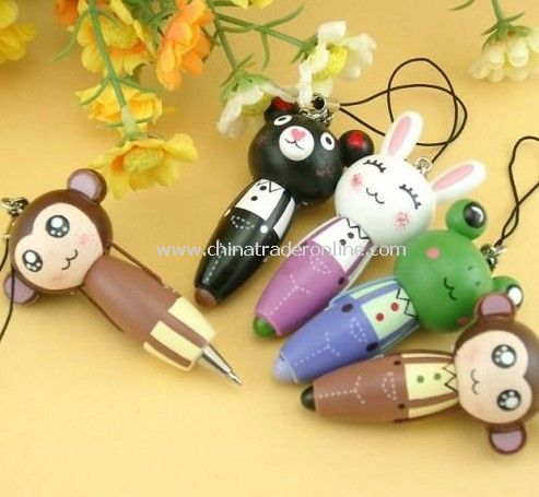 wholesales/Wooden cartoon animals carry pen / pendant / Mobile Chain
