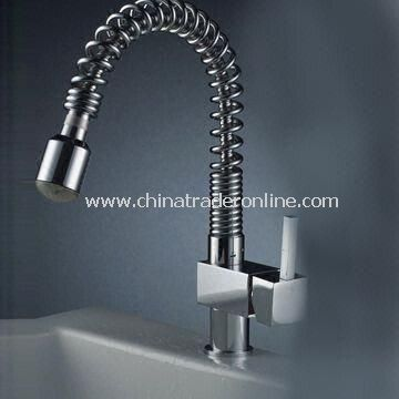 Chrome Centerset LED Kitchen Pull-out Sink Faucet with Single Handle