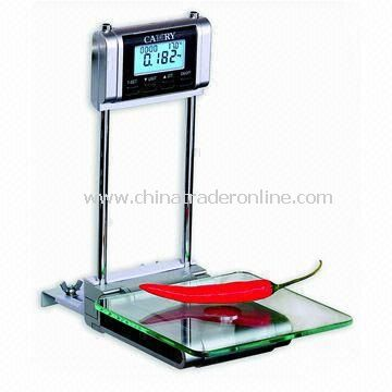Electronic Hanging Kitchen Scale, with Blue LCD Backlight, Room Thermometer and Alarm Timer from China