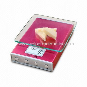 Fashionable Electronic Kitchen Scale with LCD Backlight and Real-time Clock