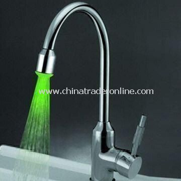 Single Handle Kitchen Faucet in Chrome Polished with LED Lights, Easy to Install