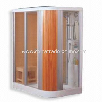 Wooden Sauna House, Composed of Shower Cubicle, Screen Door,Shower Tray,Sauna,Sliding Bar and Mirror