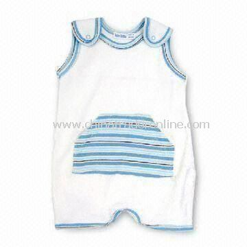 100% Cotton Baby Rompers with Embroideries, Appliques, and Print Details Features from China