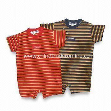 2-piece Short Sleeves Long Pants Baby Wear, Sewn with Washing Label of One Color Printed or Woven