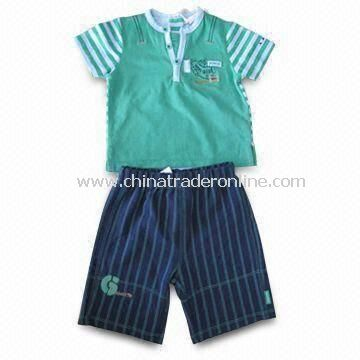 Babies Clothing Set with Short Sleeves, Green T-shirt, and Short Navy Pants