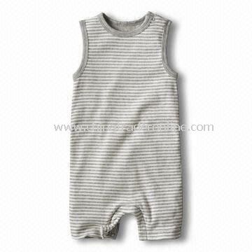 Babies Cotton Romper/Babies Wear with All Over Stripes and Sleeveless