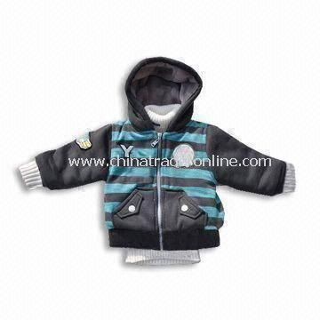 Babies Jacket with Rubber Buttons on the Front Side, Made of 100% Polyester Material